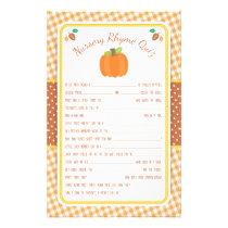 Fall Pumpkin Baby Shower Nursery Rhyme Quiz Game Flyer