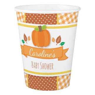Fall Pumpkin Baby Shower Paper Cups