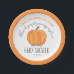 """Fall Pumpkin   Baby Shower Paper Plate<br><div class=""""desc"""">This elegant and modern fall baby shower paper plate features a fall theme with a hand painted watercolor pumpkin. Text says &quot;A sweet little pumpkin is on it&#39;s way,  Thank you for joining us for a Baby Shower.&quot; Personalize with the event date.</div>"""