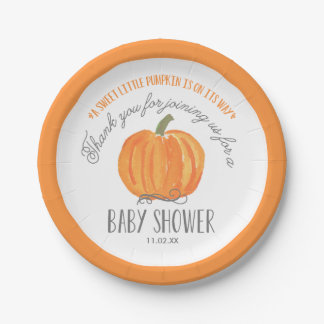 Fall Pumpkin | Baby Shower Paper Plate