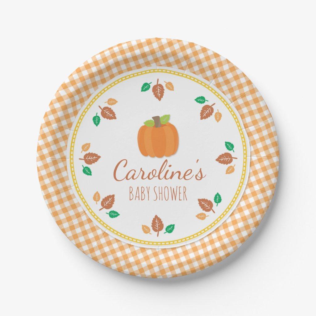 Fall Pumpkin Baby Shower Paper Plate