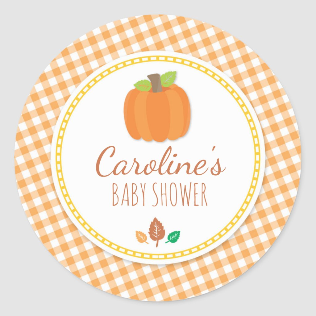 Fall Pumpkin Baby Shower Round Sticker