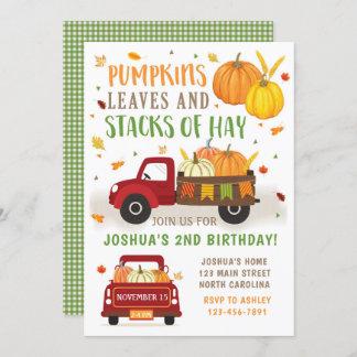 Fall Pumpkin Birthday Invitation Boy