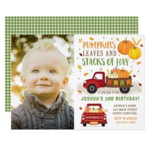 Tractor birthday invitations zazzle fall pumpkin birthday invitation boy filmwisefo