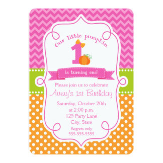 pumpkin girl birthday invitations  announcements  zazzle, Birthday invitations