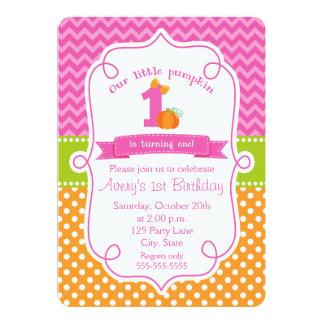 Fall Pumpkin Birthday Invitation, Girl Pumpkin Card