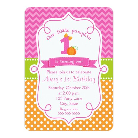 Fall Pumpkin Birthday Invitation, Girl Pumpkin Invitation
