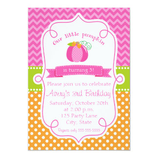 Fall Pumpkin Birthday Invitation, Pink Pumpkin Card
