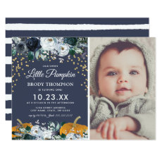 Fall Pumpkin Boy 1st Birthday Party Invitation