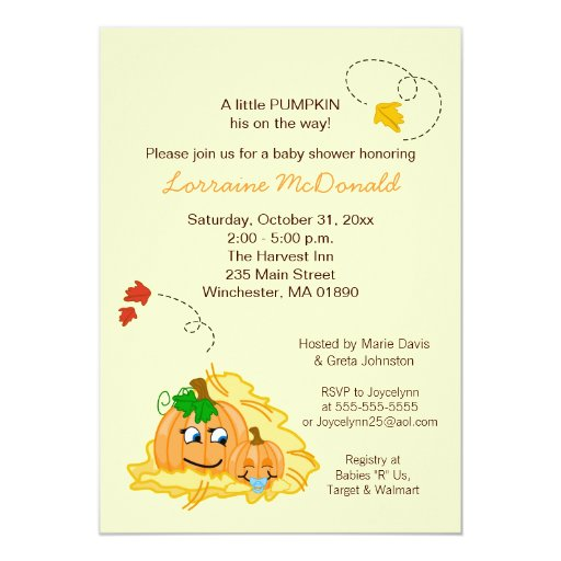 Fall Pumpkin BOY Baby Shower Invitation Cream