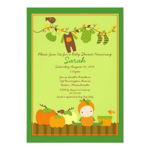 Fall Pumpkin Boy Clothesline Baby Shower Invite