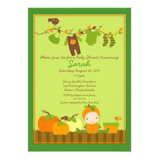 Fall Pumpkin Boy Clothesline Baby Shower Invite