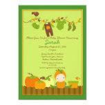"Fall Pumpkin Boy Clothesline Baby Shower Invite 5"" X 7"" Invitation Card"