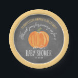 """Fall Pumpkin Chalkboard   Baby Shower Paper Plate<br><div class=""""desc"""">This elegant and modern fall baby shower paper plate features a fall theme with a hand painted watercolor pumpkin on a chalkboard background. Text says &quot;A sweet little pumpkin is on it&#39;s way,  Thank you for joining us for a Baby Shower.&quot; Personalize with the event date.</div>"""