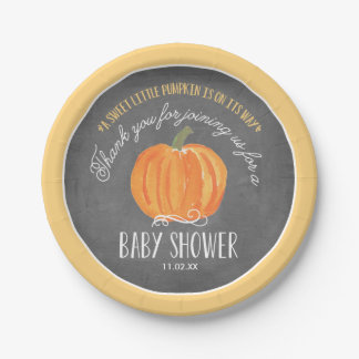 Fall Pumpkin Chalkboard | Baby Shower Paper Plate