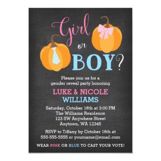 Fall Pumpkin Chalkboard Gender Reveal Party Card