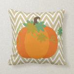 Fall Pumpkin Chevron Zigzag Pattern Throw Pillow