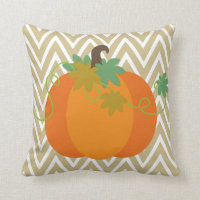 Fall Pumpkin Chevron Zigzag Pattern Throw Throw Pillow