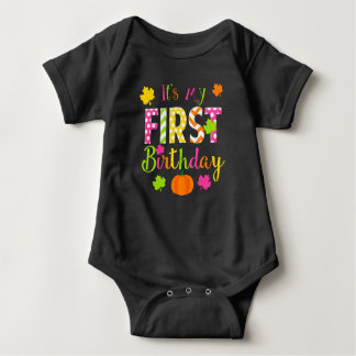 Fall Pumpkin First Birthday, 1st Birthday Leaves Baby Bodysuit