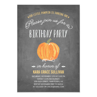 Fall Pumpkin | First Birthday Invitation