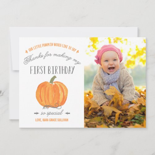 Fall Pumpkin  First Birthday Thank You with Photo