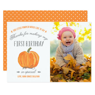 Fall Pumpkin   First Birthday Thank You with Photo Card