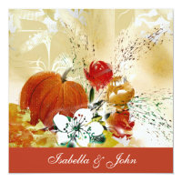 Fall Pumpkin & Florals Wedding Invitation