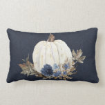 """Fall Pumpkin Foliage Watercolor Navy Blue Floral Lumbar Pillow<br><div class=""""desc"""">""""Fall Pumpkin Navy Blue Watercolor Floral Foliage Throw Pillow"""" was created in watercolor by internationally renowned and licensed artist, Audrey Jeanne Roberts. A white pumpkin is paired with navy and dusty blue flowers over dried fall foliage in tones of tan, rust and brown. Wonderful Autumn Fall home decor touch to...</div>"""