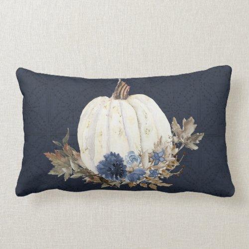 Fall Pumpkin Foliage Watercolor Navy Blue Floral Lumbar Pillow