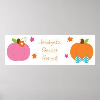 Fall Pumpkin Gender Reveal Banner Poster