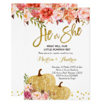 Fall pumpkin Gender Reveal Invitation