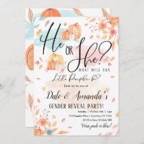 Fall Pumpkin Gender Reveal Invitation