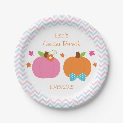 Fall Pumpkin Gender Reveal Paper Plates