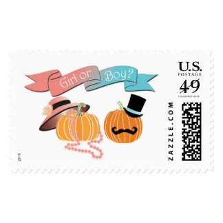 Fall Pumpkin Gender Reveal Postage, Invitation Postage