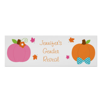 Fall Pumpkin Gender Reveal Welcome Poster