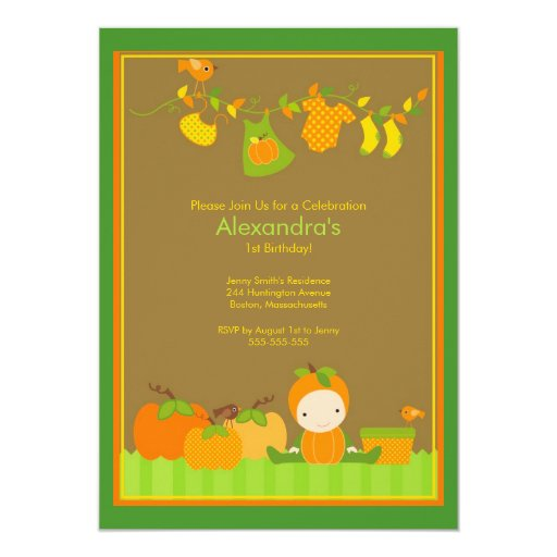 Fall Pumpkin Girl Birthday Party Invitation