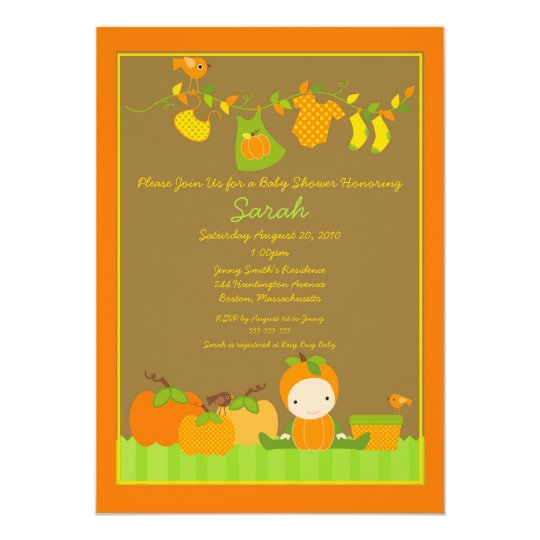Fall Pumpkin Girl Clothesline Baby Shower Invite