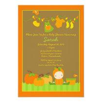 "Fall Pumpkin Girl Clothesline Baby Shower Invite 5"" X 7"" Invitation Card"