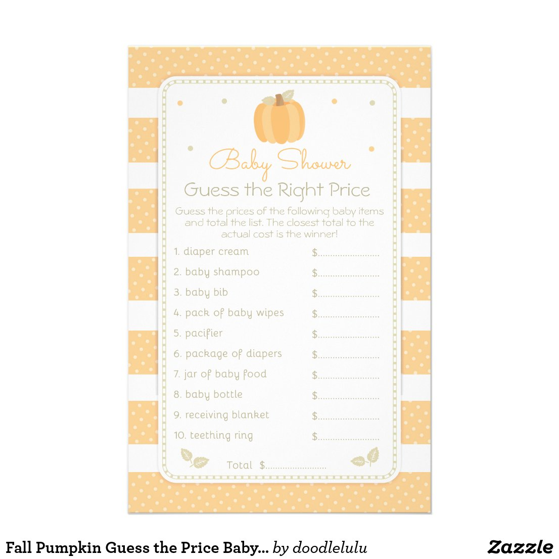 Fall Pumpkin Guess the Price Baby Shower Game Flyer