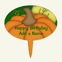 Fall Pumpkin Happy Birthday Cake Topper