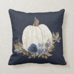 """Fall Pumpkin Navy Blue Watercolor Floral Foliage Throw Pillow<br><div class=""""desc"""">""""Fall Pumpkin Navy Blue Watercolor Floral Foliage Throw Pillow"""" was created in watercolor by internationally renowned and licensed artist,  Audrey Jeanne Roberts.  Wonderful Autumn Fall home decor touch to coordinate with your existing color palette.  Copyright.</div>"""