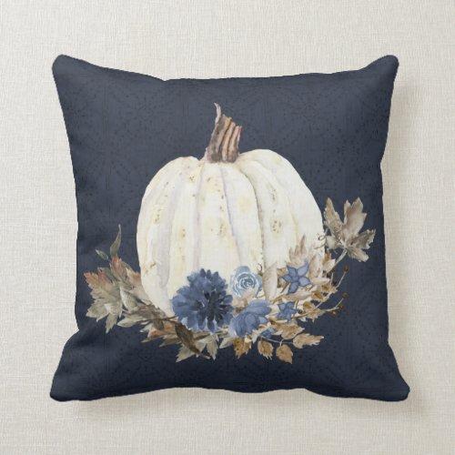 Fall Pumpkin Navy Blue Watercolor Floral Foliage Throw Pillow