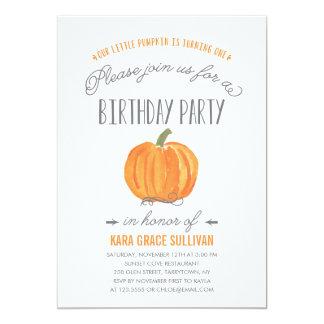 Fall Pumpkin Ombre   First Birthday Invitation