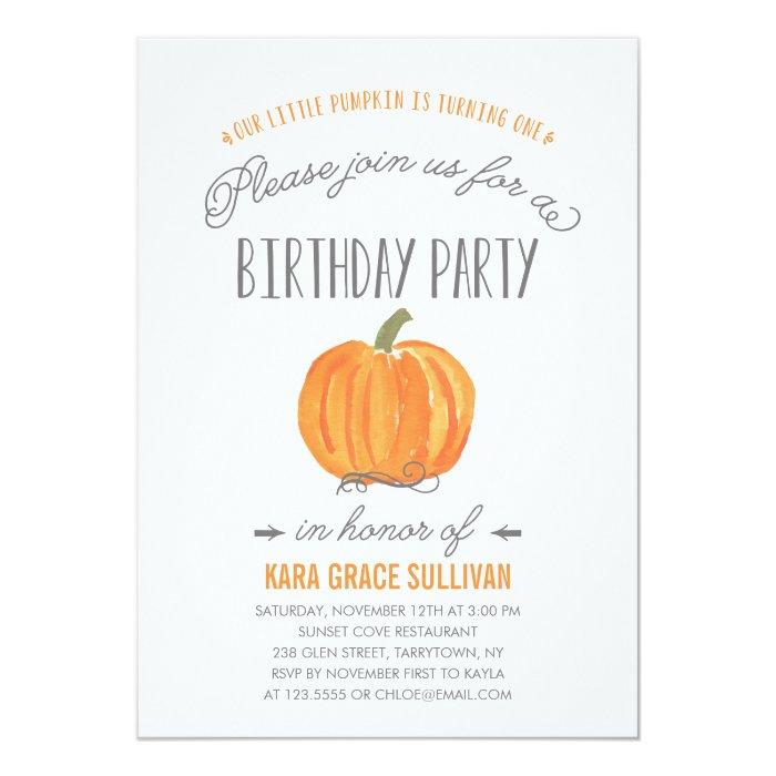 Fall Pumpkin Ombre | First Birthday Invitation | Zazzle