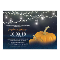Custom Fall Pumpkin Outdoor Blue Baby Shower Invitation