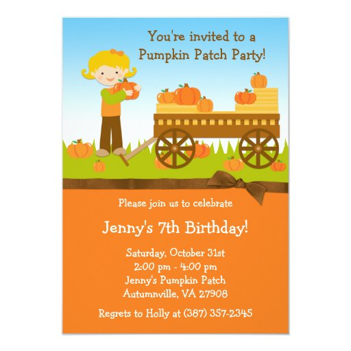 Fall Pumpkin Patch Birthday Party Invitation