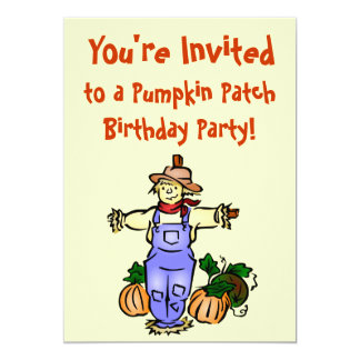 Fall Pumpkin Patch Birthday Party Invitations