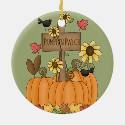 Fall Pumpkin Patch with Birds Ceramic Ornament