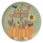 Fall Pumpkin Patch with Birds Plates