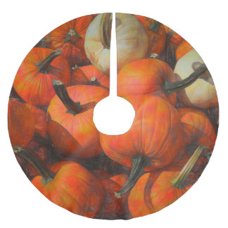 Fall Pumpkin Pile Brushed Polyester Tree Skirt